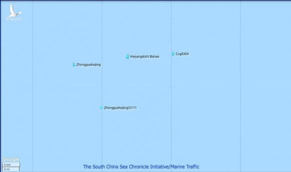 Những tàu trong nhóm tàu Haiyang Dizhi 8 có thể nhìn thấy được trên bản đồ AIS vệ tinh.