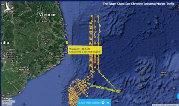 Khoảng cách từ Haiyang Dizhi 8 vào bờ biển Việt Nam