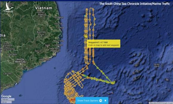 Khoảng cách Haiyang Dizhi 8 tiến sâu thêm vào bờ biển Việt Nam