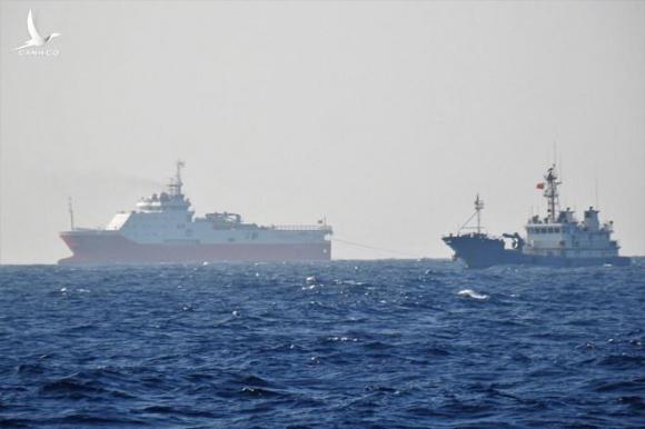 Ảnh chụp trực tiếp ngoài thực địa. Tàu dân binh Trung Quốc bảo vệ vòng trong cho tàu Haiyang Dizhi 8 khảo sát trái phép ở bãi Tư Chính - Phúc Tần, tháng 9.2019 (Nguồn: Thanh Niên).
