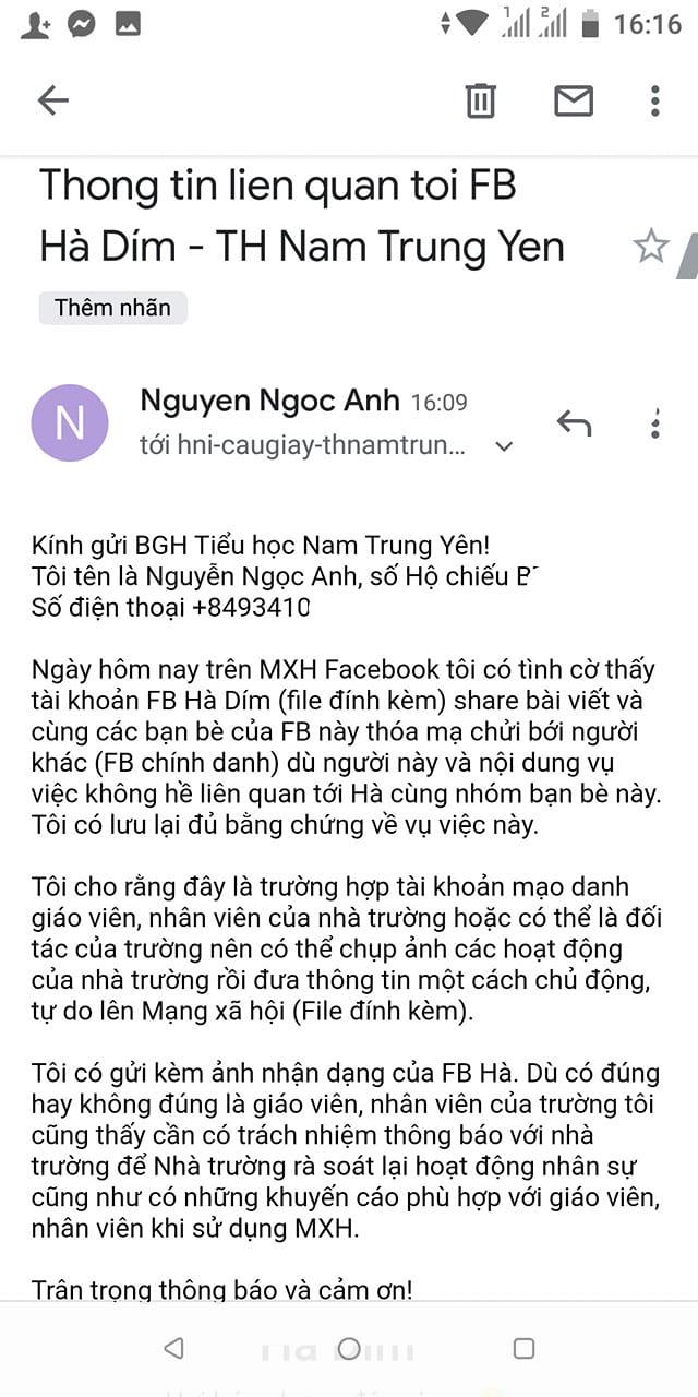 Không những vậy, cô ta còn viết mail gửi lên trường nới cô giáo Hà Dím kia đang công tác để tố cáo.