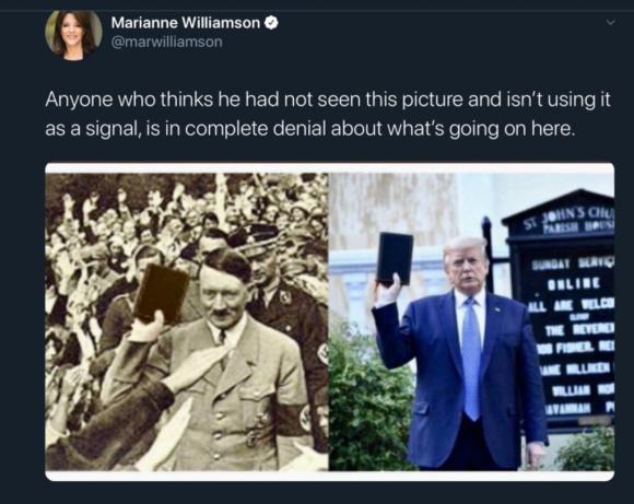 Cựu ứng cử viên Tổng thống của Đảng Dân chủ, bà Marianne Williamson cũng chia sẻ bức ảnh mà không hề bận tâm rằng nó vốn đã bị photoshop. (Ảnh chụp màn hình)