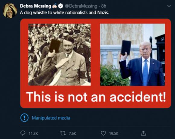 Nữ diễn viên Debra Messing - một người theo cánh tả chống Trump chia sẻ bức ảnh Adolf Hitler cầm cuốn Kinh Thánh, và đặt ngay cạnh bức ảnh tương tự của Tổng thống Trump.