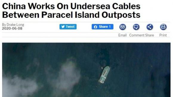 Trang Berna News đăng bài viết về hoạt động rải cáp của chiếc tàu Trung Quốc (Ảnh: Apple Daily).