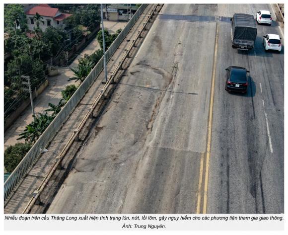 Nhiều đoạn trên cầu Thăng Long xuất hiện tình trạng lún, nứt, lồi lõm