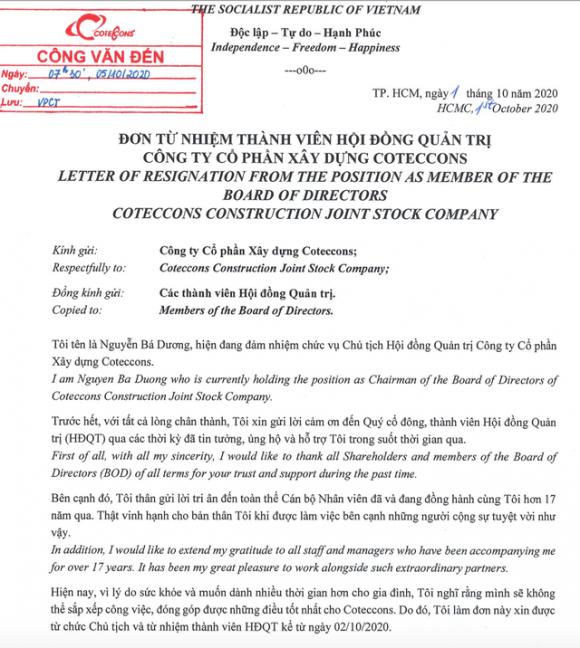 """Tin nóng: """"Ông trùm"""" Nguyễn Bá Dương bất ngờ từ bỏ quyền lực tại Coteccons - 2"""