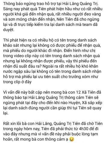 Thuỷ Tiên ngừng trao hỗ trợ tại Hải Lăng (Quảng Trị): Những gì PV Dân Việt nghe, nhìn thấy - Ảnh 1.