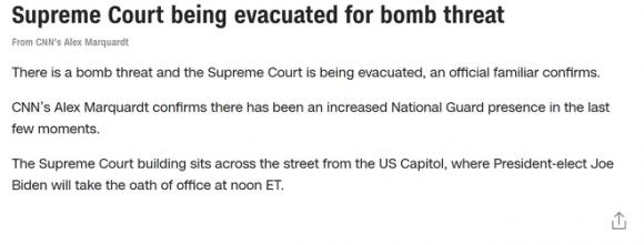 Tòa án Tối cao Mỹ bị đe dọa đánh bom ngay trước lễ nhậm chức của ông Biden - Ảnh 3.