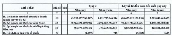 Báo cáo tài chính quý III/2020 của Vietnam Airlines