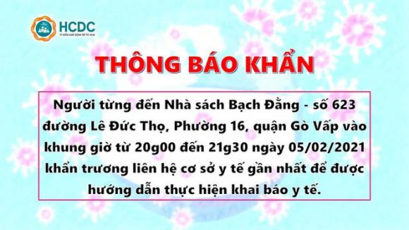 Thông báo khẩn: TP HCM truy tìm người từng đến 2 địa điểm ở Gò Vấp và Thủ Đức - Ảnh 1.