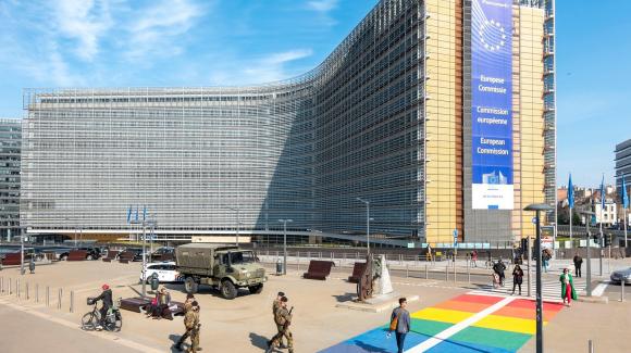 Tòa nhà Berlaymont, một tu viện trước đây, hiện là nơi đặt trụ sở của Ủy ban Châu Âu tại Brussels, Bỉ.