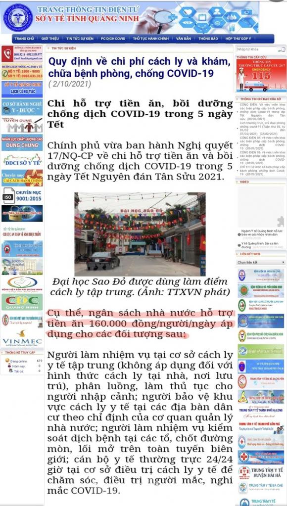 """Vụ suất ăn bị """"cắt xén"""" trong khu cách ly: Sở Y tế Quảng Ninh áp dụng sai Nghị quyết của Chính phủ - ảnh 3"""