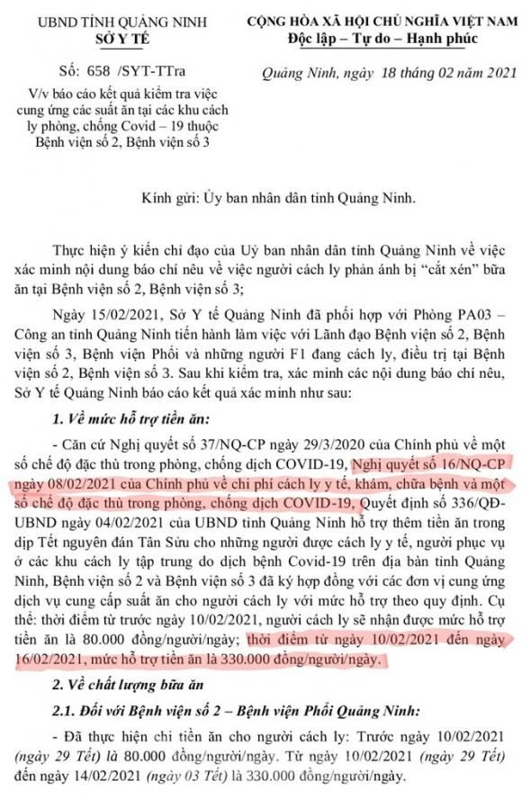 """Vụ suất ăn bị """"cắt xén"""" trong khu cách ly: Sở Y tế Quảng Ninh áp dụng sai Nghị quyết của Chính phủ - ảnh 2"""
