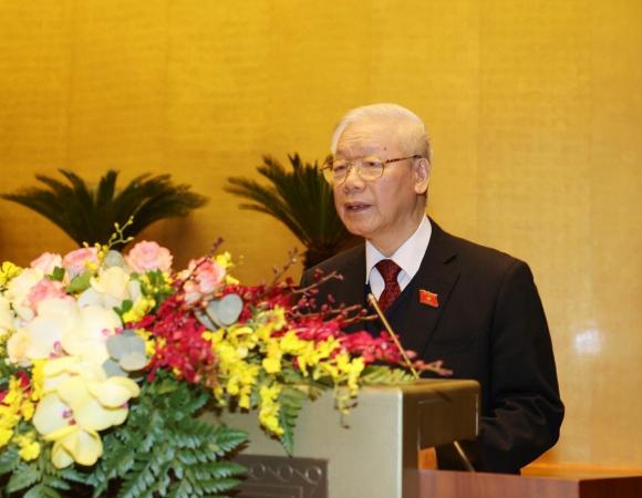 Tổng Bí thư, Chủ tịch nước Nguyễn Phú Trọng trình bày Báo cáo tổng kết công tác nhiệm kỳ 2016-2021 của Chủ tịch nước.