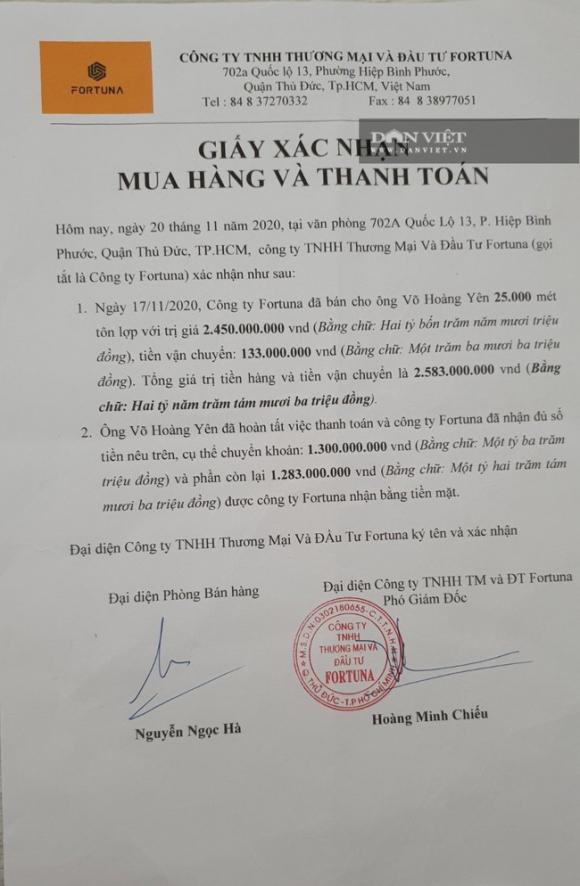 """Ông Võ Hoàng Yên bị tố """"ăn chặn"""" tiền cứu trợ: Có trốn thuế khi mua 25.000 mét tôn từ Công ty Fortuna ? - Ảnh 1."""