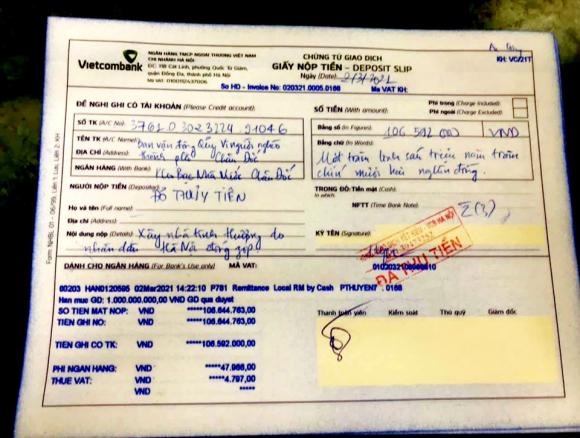 Biên nhận thể hiện bà Đỗ Thủy Tiên đã chuyển số tiền 106 triệu đồng vào Qỹ Vì người nghèo TP Châu Đốc vào ngày 2.3.2021. Ảnh: LT