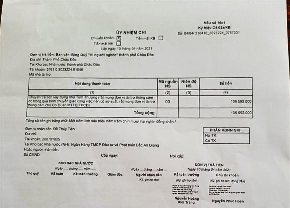 Biên nhận thể hiện TP Châu Đốc đã gởi trả lại 106 triệu đồng ngay trong ngày ông Đoàn Ngọc Hải lên mạng xã hội đòi lại tiền. Ảnh: LT
