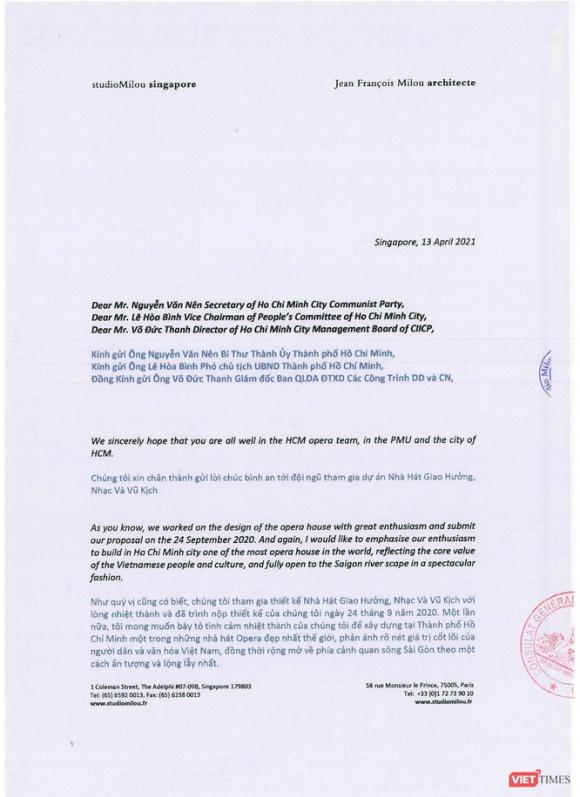 Về cuộc thi thiết kế Nhà hát ngàn tỉ, Tổng Lãnh sự quán Pháp gửi công hàm tới UBND TP.HCM ảnh 5