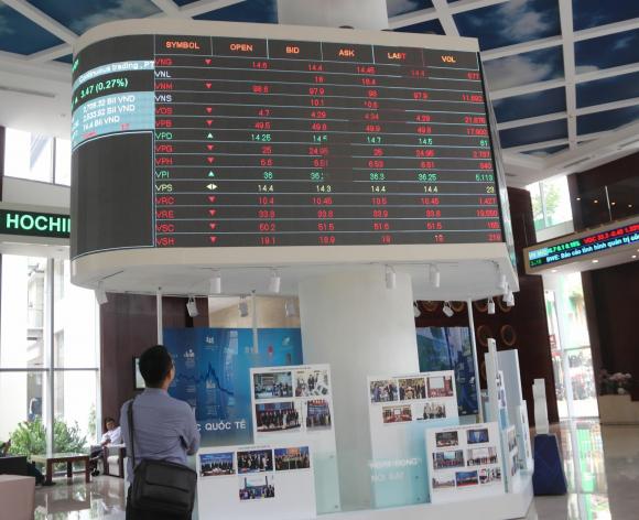 Nhà đầu tư theo dõi bảng giá chứng khoán tại sàn HOSE