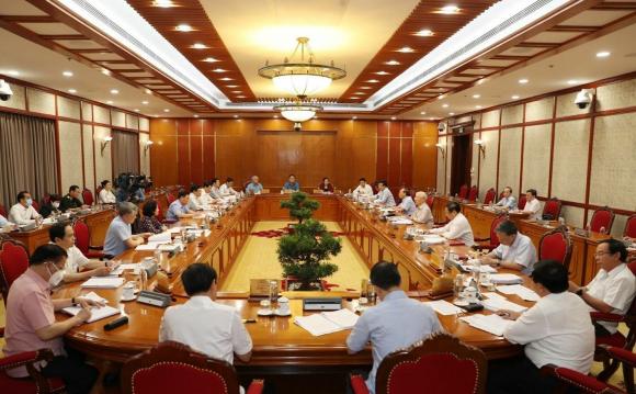 Toàn cảnh Tổng Bí thư Nguyễn Phú Trọng phát biểu kết luận cuộc họp