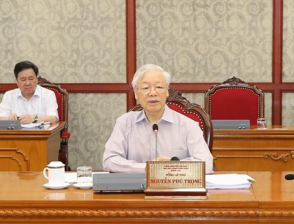 Tổng Bí thư Nguyễn Phú Trọng phát biểu kết luận cuộc họp