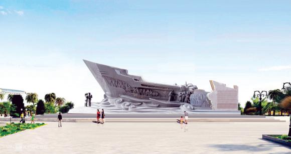 Phối cảnh mặt cắt ngang tượng đài con tàu tập kết. Ảnh: Lê Hoàng.