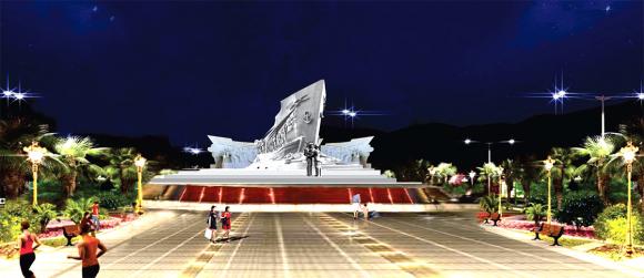 Phối cảnh mặt trước dự án tượng đài vào ban đêm. Ảnh: Lê Hoàng.