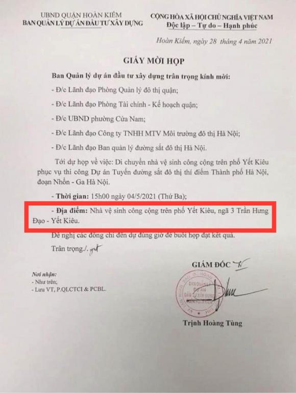 Hà Nội: Thực hư giấy mời dự họp có ghi địa điểm là nhà vệ sinh công cộng trên phố Yết Kiêu, Hoàn Kiếm - Ảnh 1.