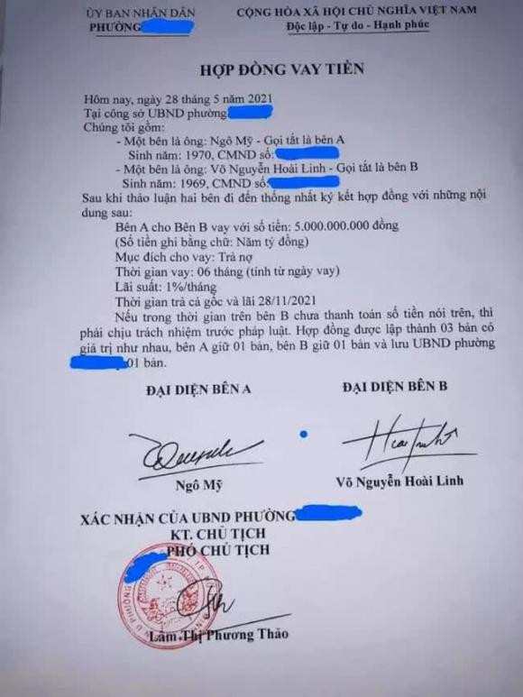 Xôn xao hợp đồng vay tiền của nghệ sĩ Hoài Linh: UBND phường Phú Mỹ khẳng định văn bản giả - Ảnh 1.